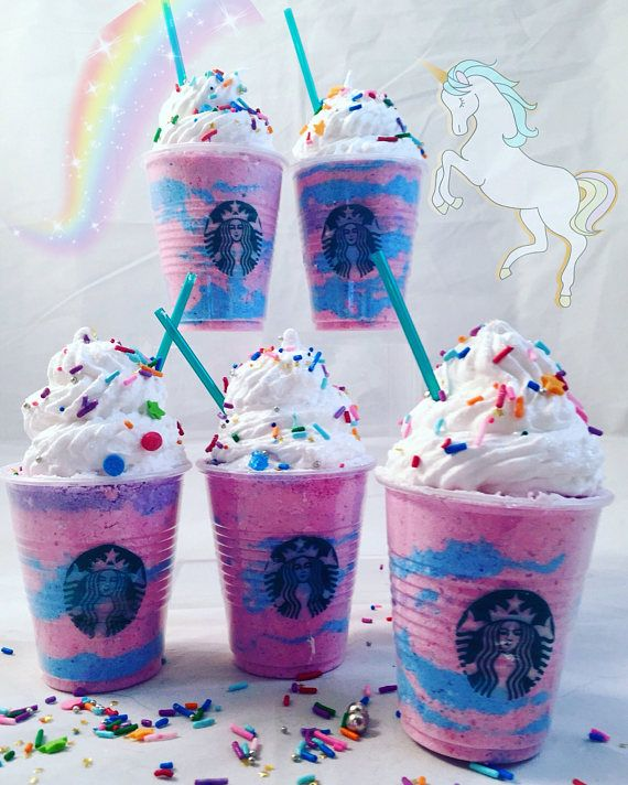 Unicorn Frappuccino Bath Bombs! These adorable Unicorn Frappuccino Bath Bombs are scented in Black Raspberry Vanilla. The fizzy bath bomb is topped with a dollop of frothy soap, sprinkles and glitter. #AD