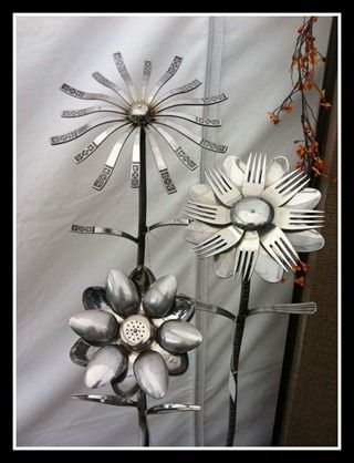 Silverware And Cutlery As Garden Flowers Upcycle Metals