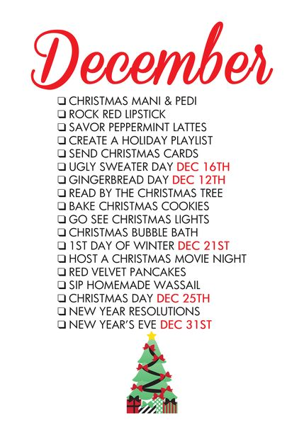 December Seasonal Living List