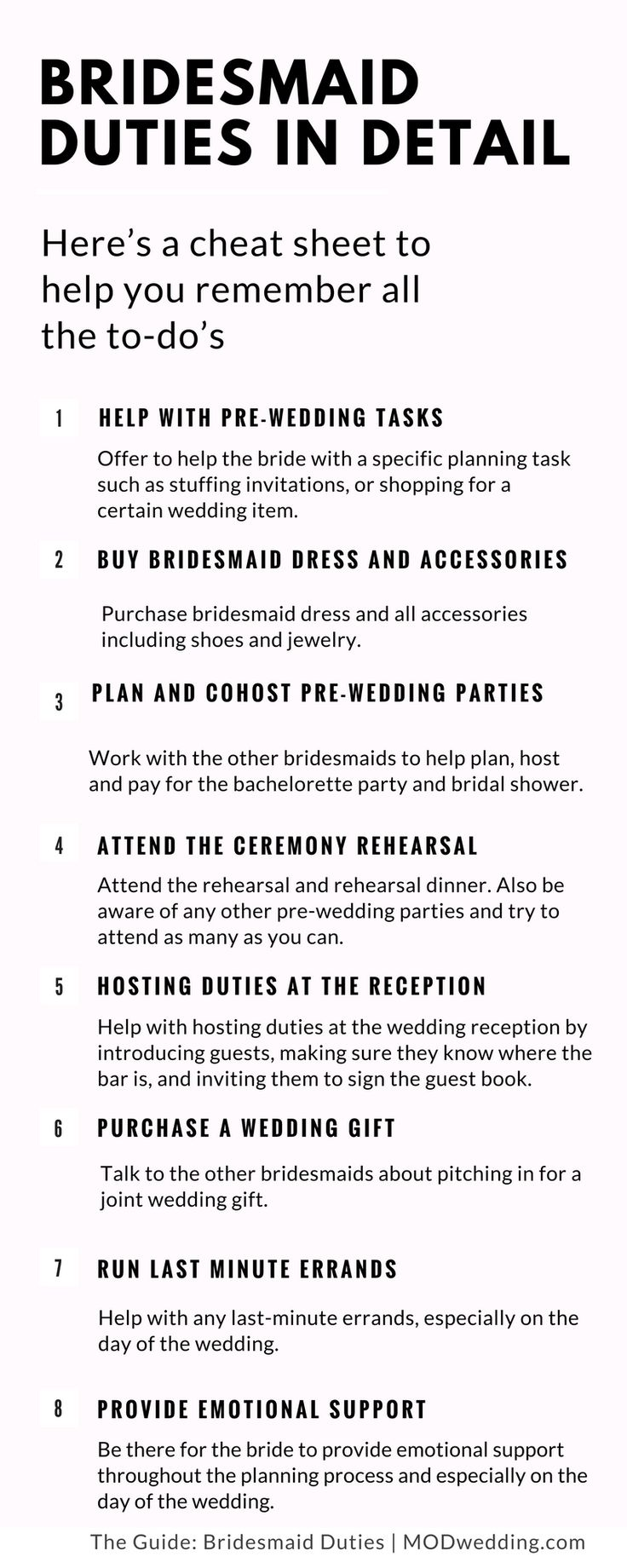 Bridesmaid Duties in Detail, here's a cheat sheet of your to-dos, click to read more in details