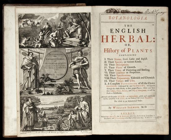 Botanologia. The English Herbal: or, History of Plants William Salmon. I.Dawks for H.Rhodes and J.Taylor, 1710. First Edition. Additional engraved title by Michael van der Gucht after Eloas Knight, title in red and black, over 1500 woodcuts in...