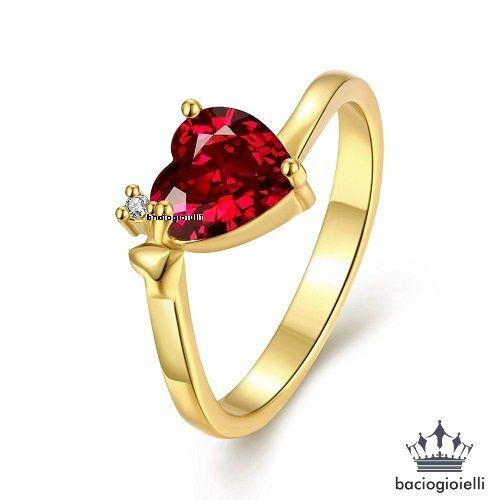 14k Gold Plated 925 Silver Heart Shape Red Garnet Women's Promise Wedding Ring: 14k Gold Plated 925 Silver Heart Shape Red… #OnlineMarket