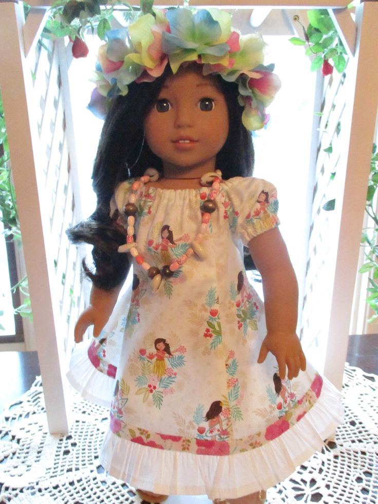 "Hawaiian Doll Dress with Head Lei to fit your 18"" American Girl Doll by Emmakate0 on Etsy"