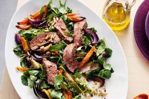 Spice-rubbed steak with carrot and quinoa salad
