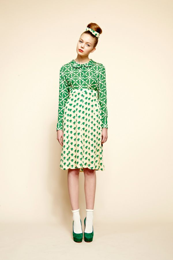 kelly green geometric print top and pattern skirt by Charlotte Taylor