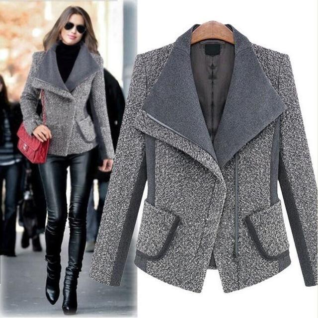 Winter Wool Coat Thicken Turn-down Collar Zipper