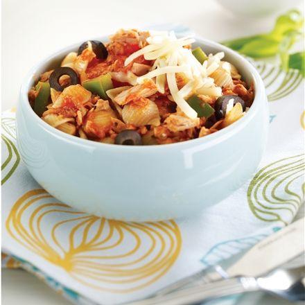 Recettes santé | Nutrisimple | Coquillettes aux olives, au thon et aux tomates