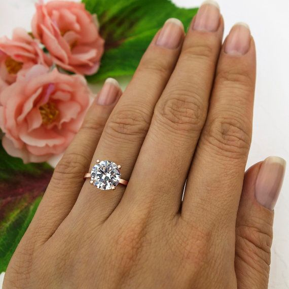 3 ct, 4 Prong Solitaire Engagement Ring, Round 9mm Man Made Diamond Simulant…