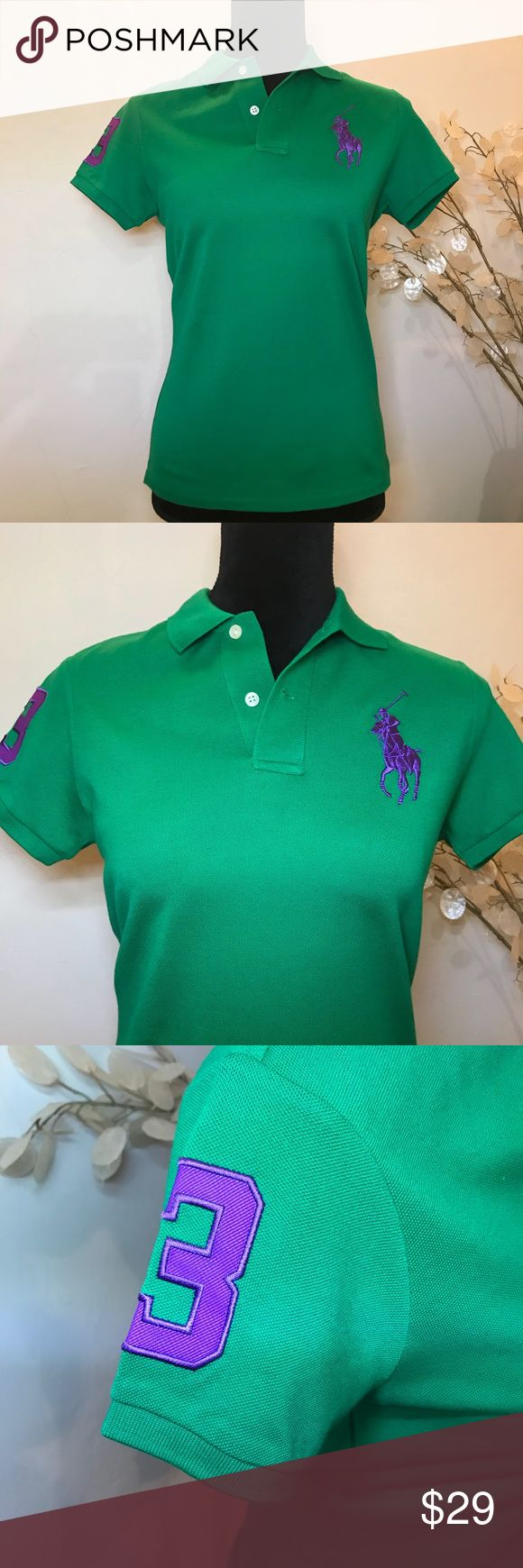 Ralph Laure - Slim Fit Stretch Polo Shirt Polo Ralph Lauren - Slim Fit Stretch Big Pony Polo Shirt - Dark Green Ralph Lauren Tops Tees - Short Sleeve