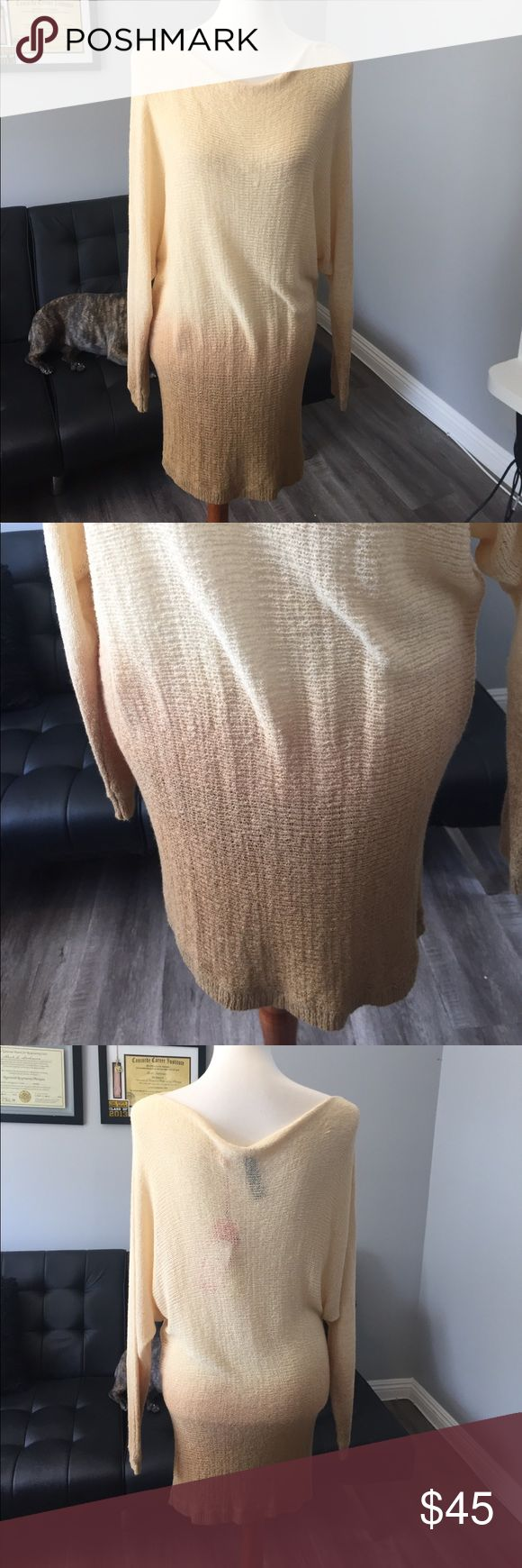 """NWT Beach Ombré cover up NWT ***Price Firm****super light weight knit ombré dolman style sweater but it so light weight I might even call it a shirt (maybe) chest 19"""" length 28"""" one size fits most very stretchy (Not Anthro just need exposure) brand is D&K boutique brand Anthropologie Tops Tees - Long Sleeve"""