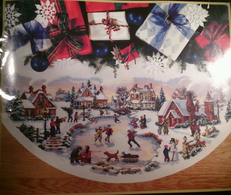 Skaters Village Tree Skirt 45 Gold Collection Dimensions Counted Cross Stitch