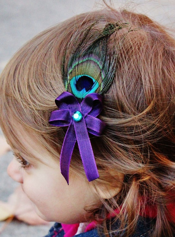 Purple Peacock Feather Hair Bow  Single Peacock by SweetestBugBows, $4.00