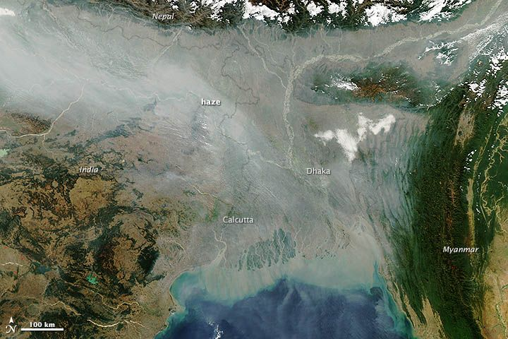 A thick river of haze hovered over the Indo-Gangetic Plain in January 2013, casting a gray pall over northern India and Bangladesh