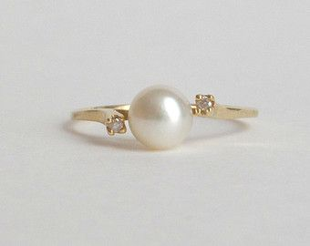 Non-traditional engagement ring. Classic and understated. Modern Pearl & Diamond Ring. 14k Gold. Dainty.