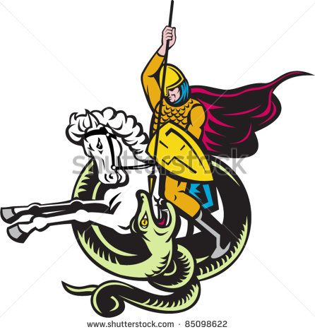 vector illustration of a knight riding horse with shield and spear fighting snake dragon done in retro style on isolated white background - stock vector #knight #woodcut #illustration