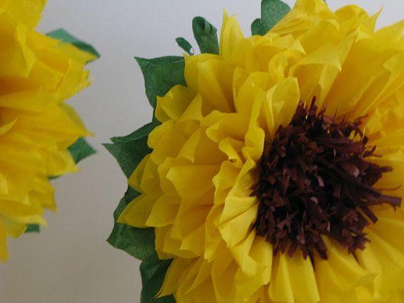 HAPPY SUNFLOWERS. 5 Giant Paper Flowers, autumn wedding, photo booth, birthday…