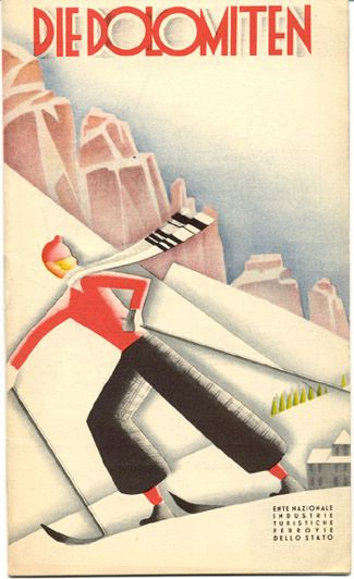 Travel brochure for the Dolmoti. Published circa 1933 by the Ente Nazionale Industrie Turistische (ENIT - Italian State Tourist Department) and the Ferrovie dello Stato (Italian State Railway)