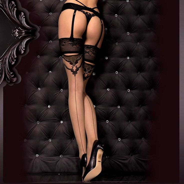 Ballerina Hosiery Katrina kanten stay-ups kousen met barok detail zwar