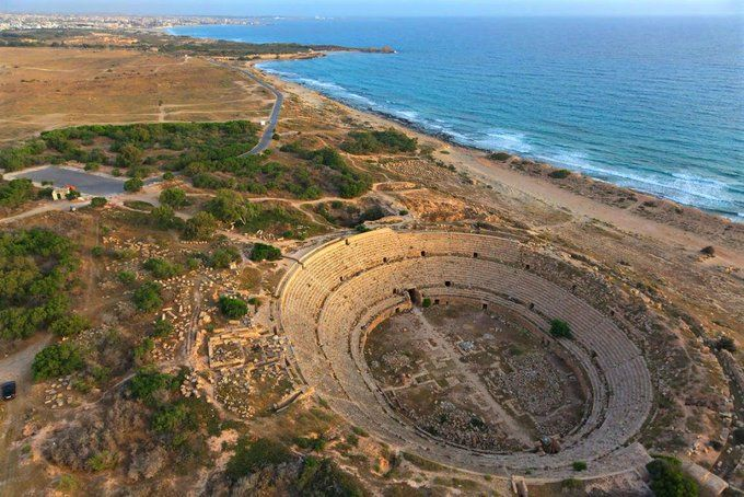 An astonishing aerial view of the Roman amphitheater in Leptis Magna, Libya which was completed in 56 AD and had a seating capacity for approximately 16,000 spectators. (Photo: George Steinmetz)  #Roman #Rome #Libya #Amphitheater #Classics