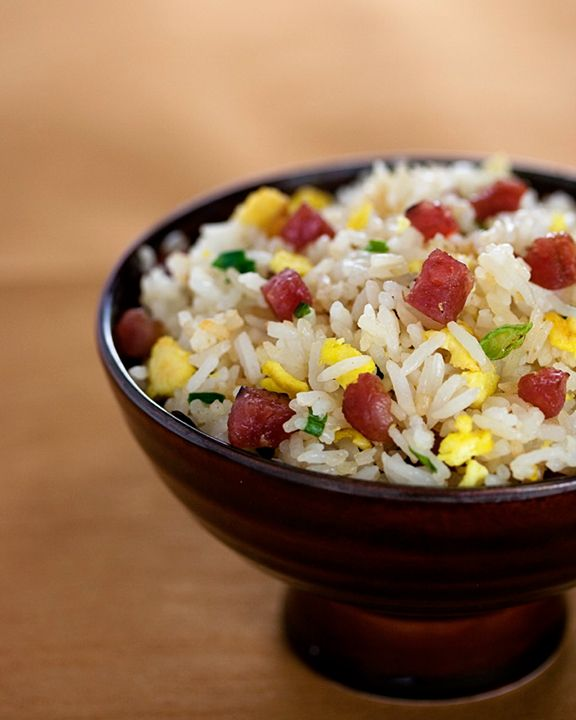Chinese sausage with sweet soy sauce fried rice. A true staple in Chinese fried rice.