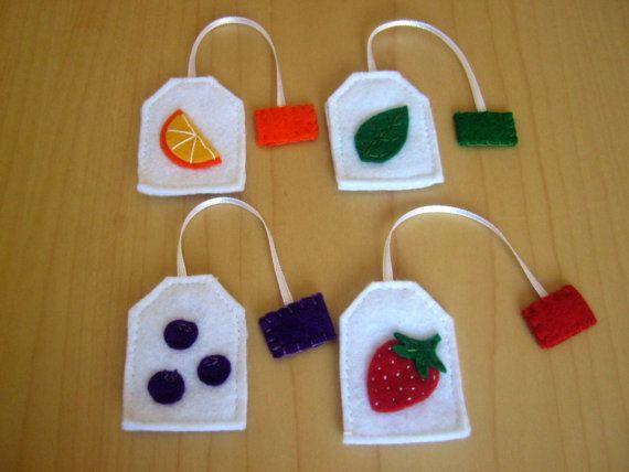 Felt food set  Tea party playset  tea bags by DusiCrafts on Etsy, $8.00