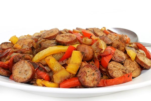 Sausages, Peppers and Onions Made Deliciously Skinny. It's over-the-top delicious! Each dinner size portion has 293 calories, 13g fat & 8 Weight Watchers POINTS PLUS. It's equally fun to serve for an appetizer. http://www.skinnykitchen.com/recipes/sausages-peppers-and-onions-made-deliciously-skinny/