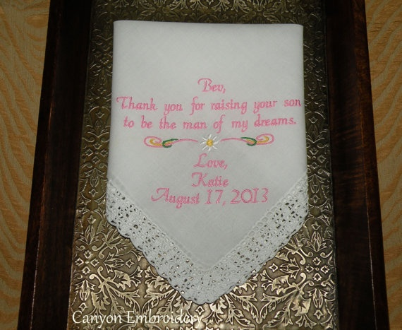 Wedding Gift For Mom Second Marriage : gift mother inlaw gift wedding gift personalized embroidered wedding ...