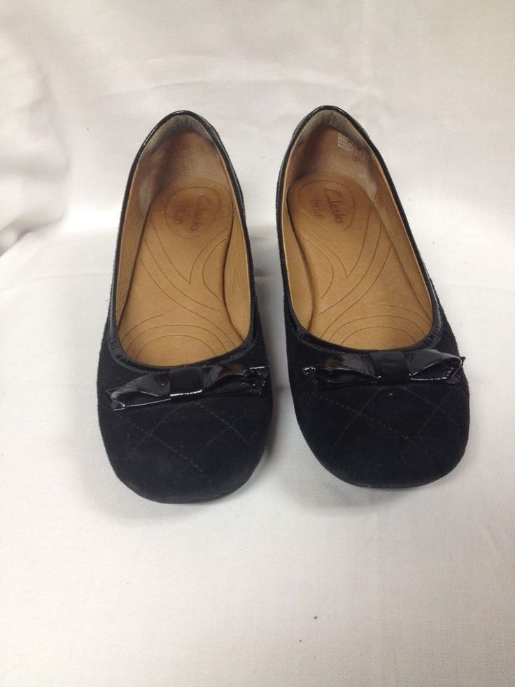 Womens Size 8 1/2 8.5M Black Clarks Indigo Dress Shoes with Bow Leather LkN