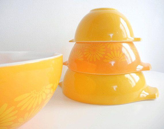 Vintage Pyrex Daisy Cinderella Nesting Bowls /  Set of Four Mixing Bowls Yellow and Orange Flowers. $92.00, via Etsy. I WANTTTT!!!