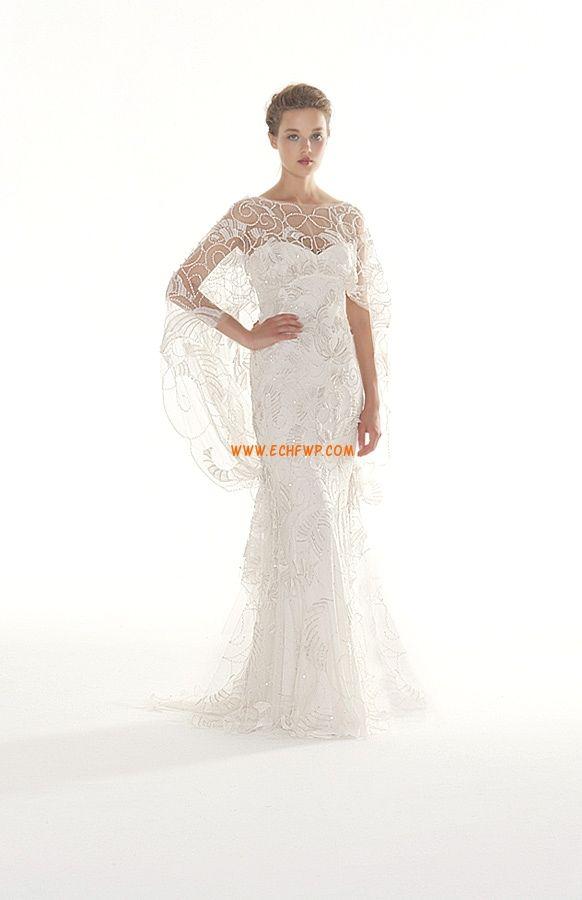 Csónak  Rövidujjú Cipzár Menyasszonyi ruhák 2014