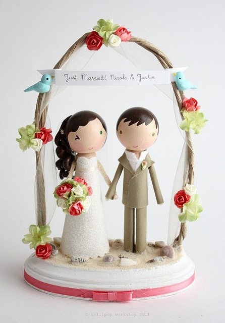 The most gorgeous wedding cake toppers. So pretty.