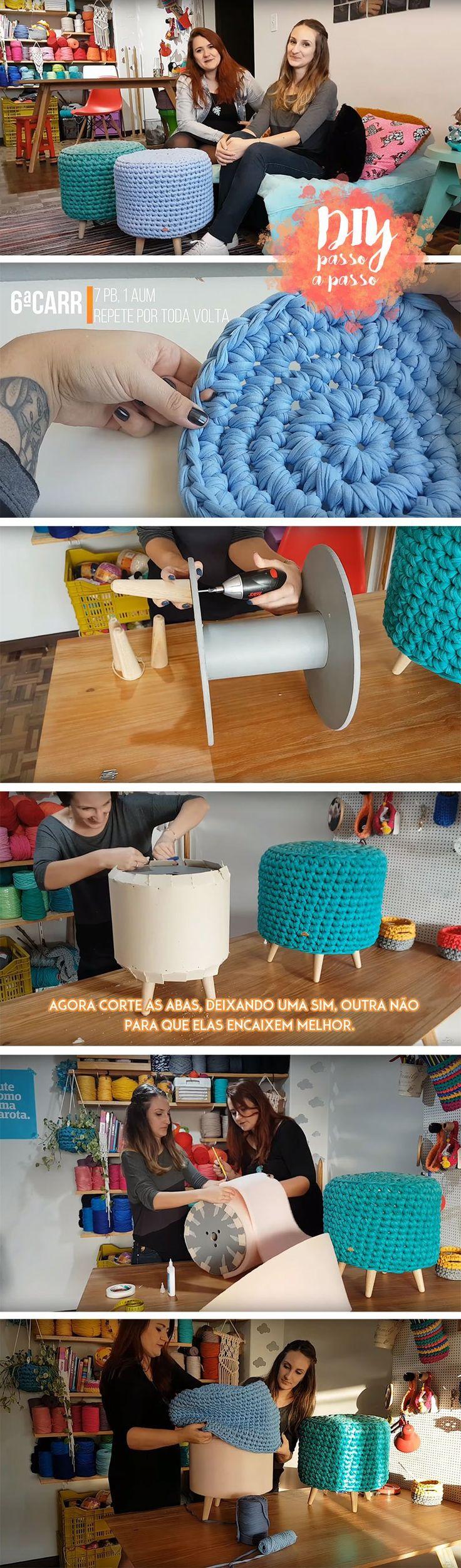 Pufe de Carretel Max Crochê Nat Petry RabHouse Blog Remobília
