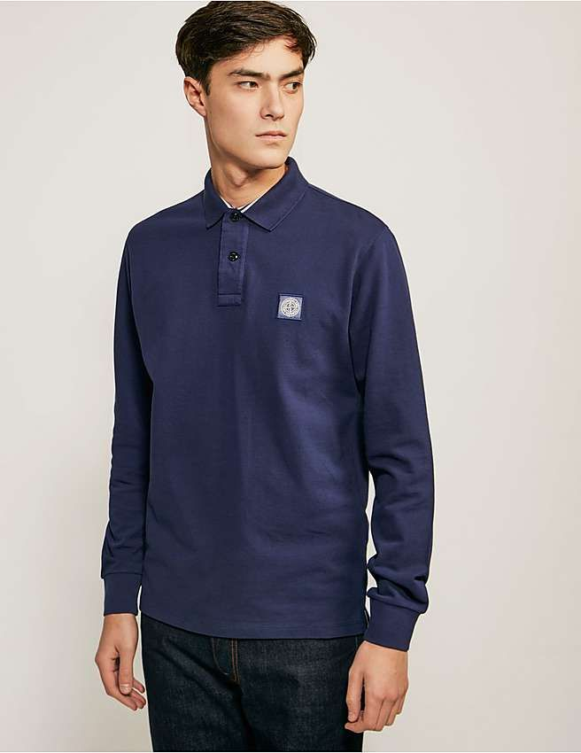 blue Stone Island Regular Fit Long Sleeve Polo Shirt