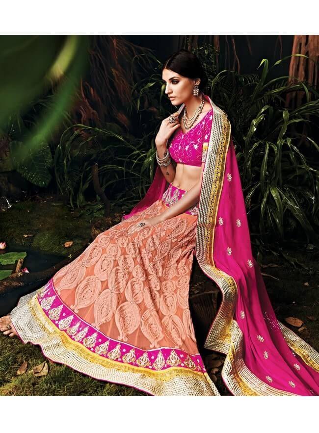 Dark pink & peach georgette chiffon bridesmaid lehenga with resham, mirror and hand work
