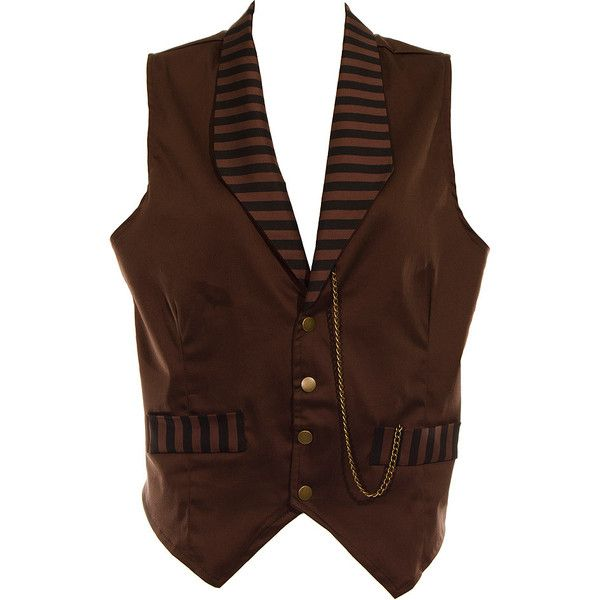 Golden Steampunk Stripe Waistcoat (Brown) ($53) ❤ liked on Polyvore featuring outerwear, vests, vest, brown waistcoat, steam punk vest, waistcoat vest, steampunk vest and brown vest