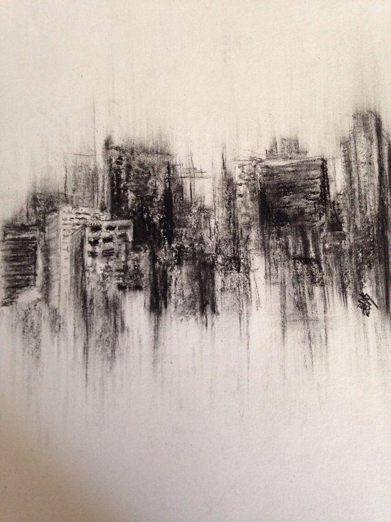 Fading city - original charcoal drawing - landscape skyline on Etsy, $25.00
