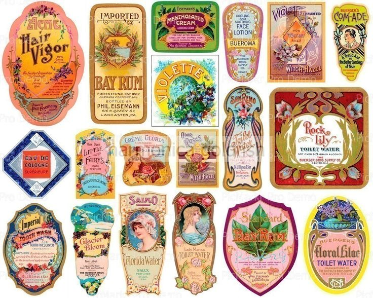 Vintage Perfume Labels | Labels Perfume Tonic Witch Hazel Toilet Water by harmonicagoldfish