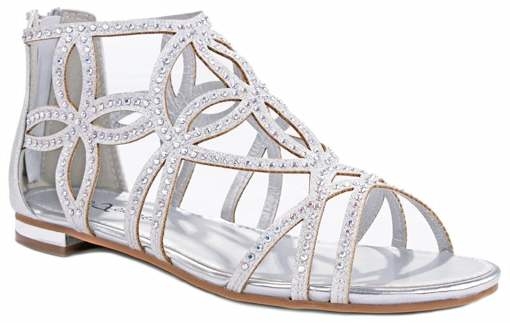 Tory63 Silver Glittering Rhinestone Four-leaf Clover Cut Out Strap Gladiator Flat Dress Sandal Shoes-7.5