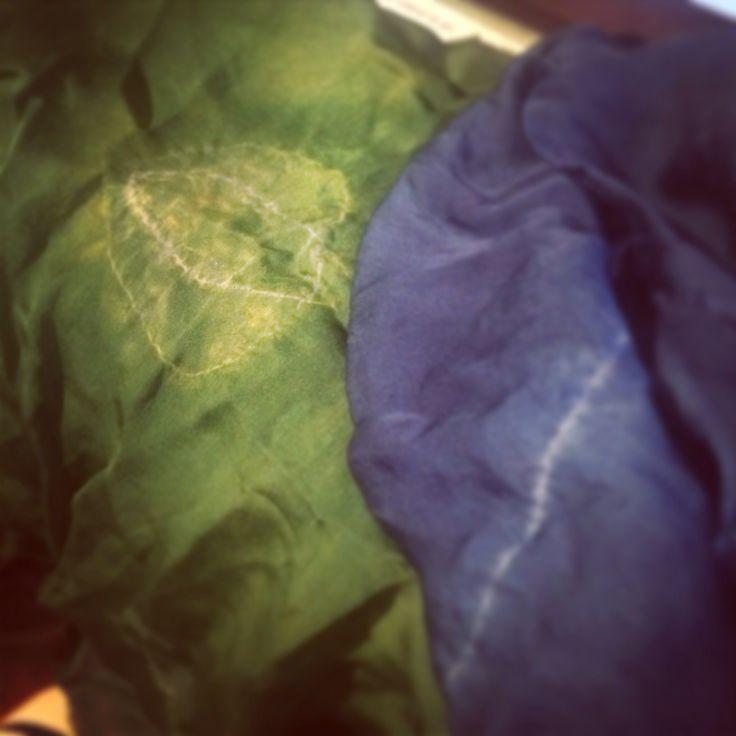 Indigo and turmeric shibori on silk - created using freehand machine embroidery, dying with indigo, processing then adding to turmeric dye pot to create green