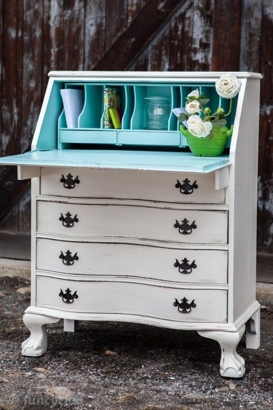 Cream and Robin's Egg Blue Secretary Desk by FunCycled  www.funcycled.com