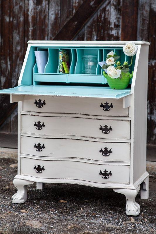 3 Cream And Robinu0027s Egg Blue Secretary Desks U2013 Tuesdayu0027s Treasures U2013  FunCycled