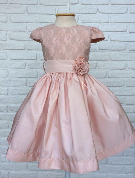 Vestido Infantil Festa Damina Rosa Luxo