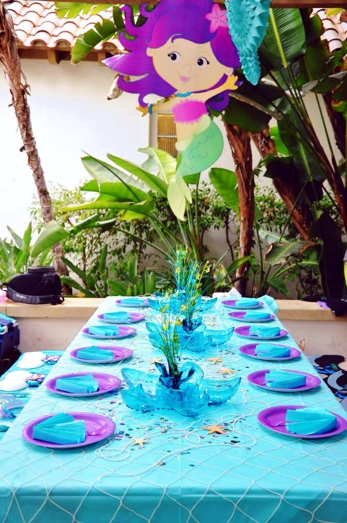 SEE THIS BOARD FOR THEME PARTY IDEAS Mermaid party - table decor