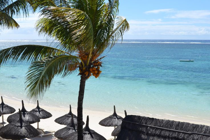 View on the Indian Ocean from a seaview room at Veranda Palmar Beach, Mauritius.