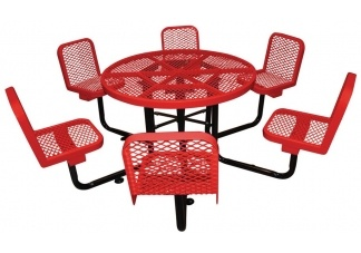 Expanded Metal Picnic Table for 6!    http://www.commercialsitefurnishings.com/commercial-picnic-tables/commercial-round-picnic-table/expanded-round-table-chairs-46