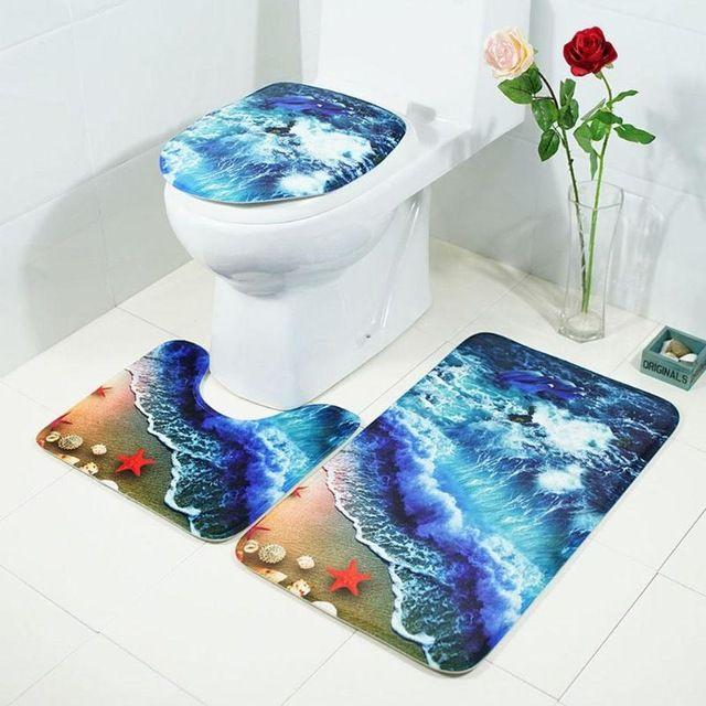3pcs//set Printed Non Slip Water Absorb Floor Rugs Carpet Mats Pad Bathroom Decor