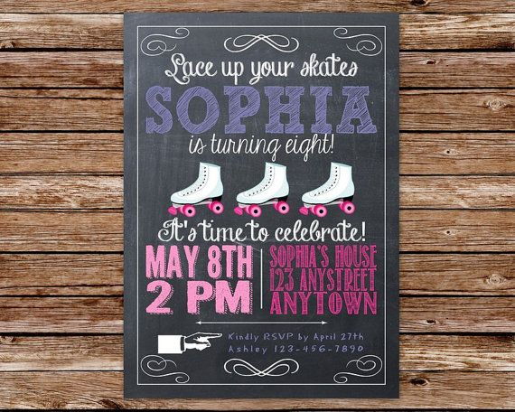 Chalkboard Roller Skating Birthday Party Invitation on Etsy, $12.50