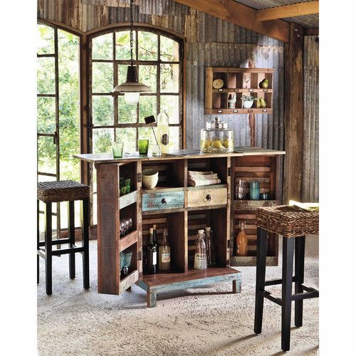 tabouret de bar en abaca et mahogany massif rangoon. Black Bedroom Furniture Sets. Home Design Ideas