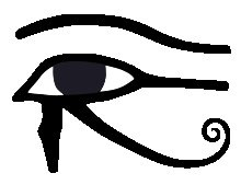 The Eye of Horus/Ra  Spiritually, the right eye reflects solar, masculine energy, as well as reason and mathematics. The left eye reflects fluid, feminine, lunar energy, and rules intuition and magic. Together, they represent the combined,transcendent power of Horus.      The Masonic all seeing eye, the Eye of Providence symbol found on American money, and their Rx pharmaceutical symbol are all derived from the Eye of Horus.