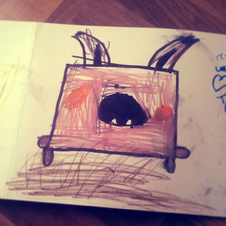 Ellas drawing of a happy rabbit.